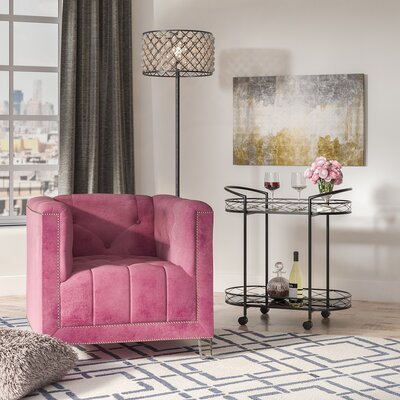 Prue Armchair Fabric: Plum/Clear
