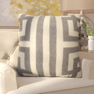 Brightwood Modern Geometric Pattern Square Linen Throw Pillow Color: Taupe / Grey