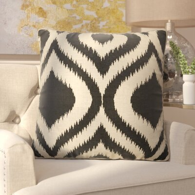 Brightwood Removable Tribal Pattern Square Linen Throw Pillow Color: Taupe / Black