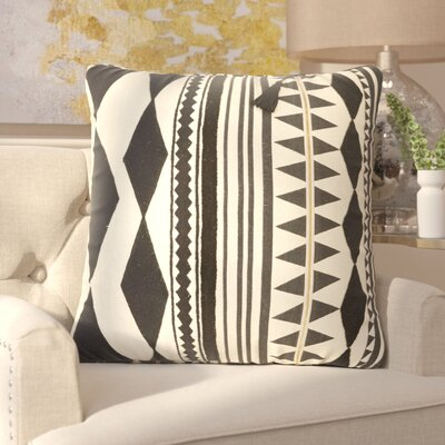Anastagio Tribal Pattern Linen Throw Pillow Color: Black / Ivory