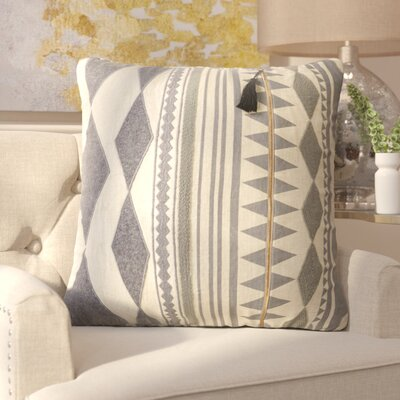 Brightwood Removable Tribal Pattern Linen Throw Pillow Color: Grey / Ivory