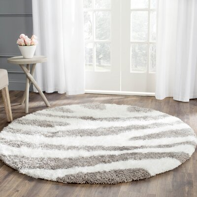 Hempstead Hand Tufted White/Gray Area Rug Rug Size: Round 5