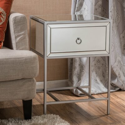 Echeverria 1 Drawer End Table Finish: Silver