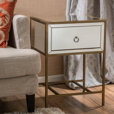 Echeverria 1 Drawer End Table Finish: Gold