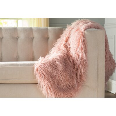 Cobbett Faux Fur Throw Blanket Color: Pink, Size: 58 W x 60 L