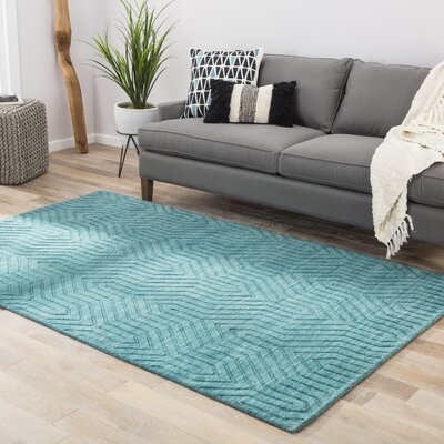 Chevell Wool Solids Hand-Loomed Blue Area Rug Rug Size: 5 x 8