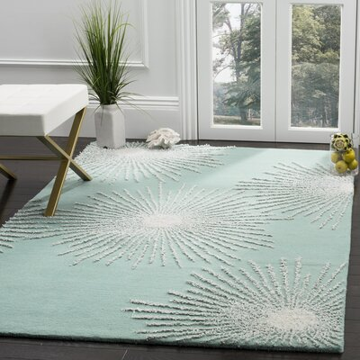 Germain Hand-Tufted Green Area Rug Rug Size: Rectangle 5 x 8