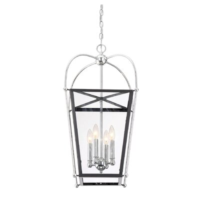 Hedstrom 4-Light Foyer Pendant Finish: Matte Black/Polished Chrome