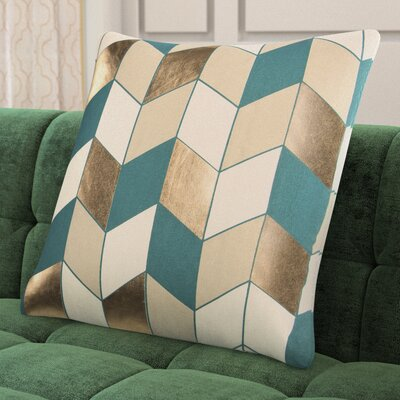 Shipp Cotton Throw Pillow Color: Teal