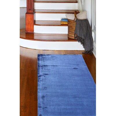 Doyle Hand-Woven Cobalt Area Rug Rug Size: Runner 26 x 8