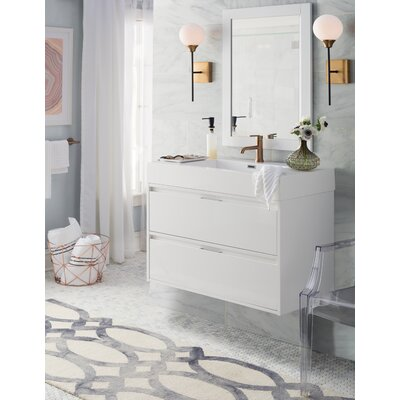 Daniella 35 Single Bathroom Vanity Set with Mirror Base Finish: Glossy White