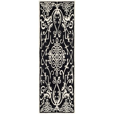 Thornbury Black / Ivory Rug Rug Size: Runner 26 x 12