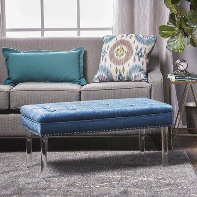 Rowles New Velvet Ottoman Upholstery: Aqua