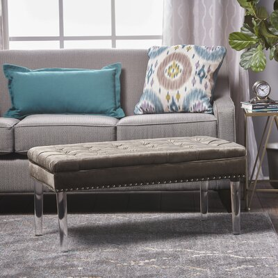 Rowles New Velvet Ottoman Upholstery: Gray