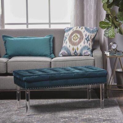 Rowles New Velvet Ottoman Upholstery: Teal