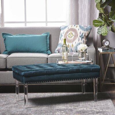 Rowlett New Velvet Ottoman Upholstery: Teal