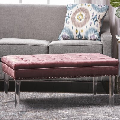 Rowles New Velvet Ottoman Upholstery: Blush