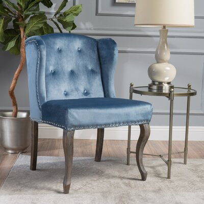 Hollange New Velvet Wingback Chair Upholstery: Icy Blue