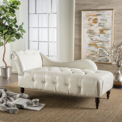 Hurd Leather Tufted Chaise Lounge Upholstery: Ivory