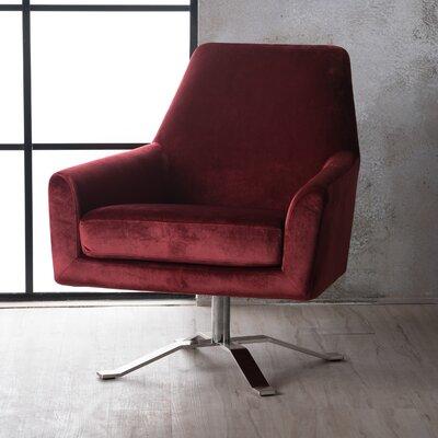 Bourne Velvet Modern Swivel Armchair Upholstery: Garnet