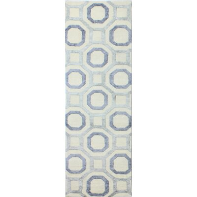 Giles Hand-Knotted Ivory/Blue Area Rug Rug Size: Runner 26 x 8