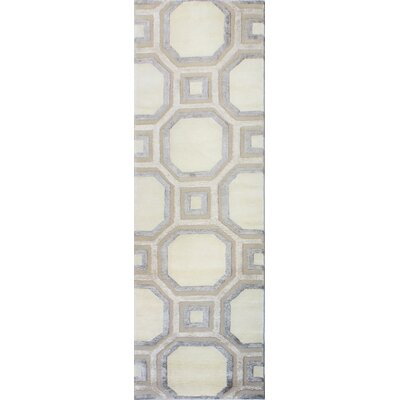 Giles Hand-Tufted Ivory Area Rug Rug Size: Runner 26 x 8