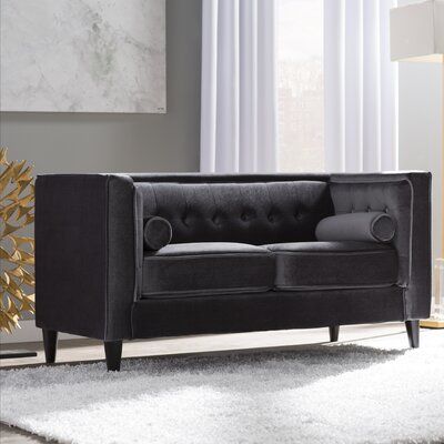 Roberta Velvet Chesterfield Loveseat Upholstery: Grey