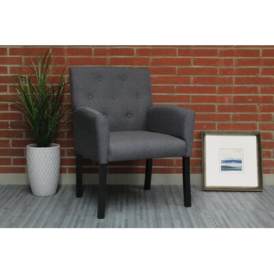 Westhoughton Arm Chair Upholstery: Slate Gray, Finish: Black