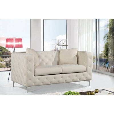 Maubray Chesterfield Loveseat Upholstery: Cream