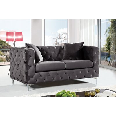 Maubray Chesterfield Loveseat Upholstery: Gray