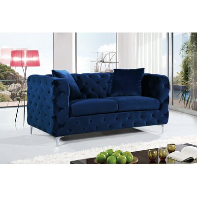 Maubray Chesterfield Loveseat Upholstery: Navy