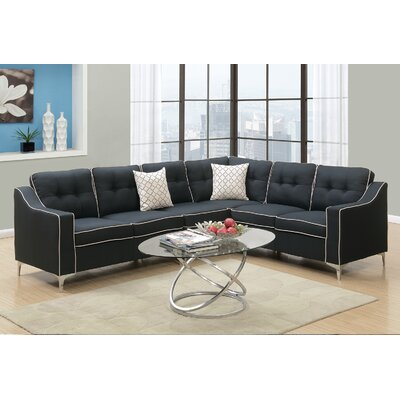 Juno Linen-like Sectional Upholstery: Black