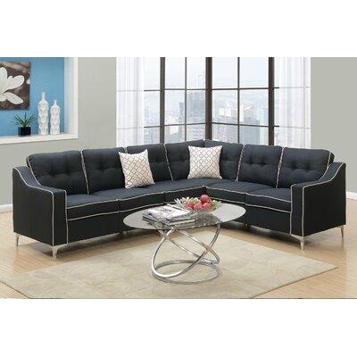 Juno Linen-like Sectional Upholstery: Black