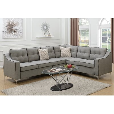Juno Linen-like Sectional Upholstery: Light Gray