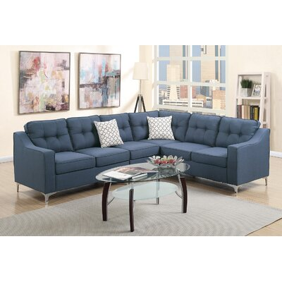 Juno Linen-like Sectional Upholstery: Navy