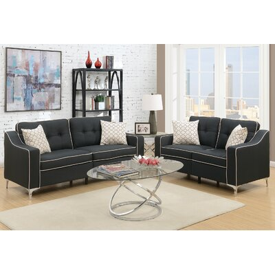 Sebastian 2 Piece Living Room Set Upholstery: Black