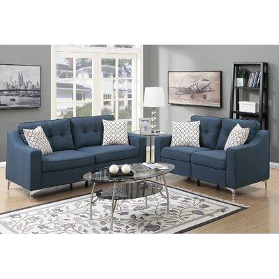 Sebastian 2 Piece Living Room Set Upholstery: Navy