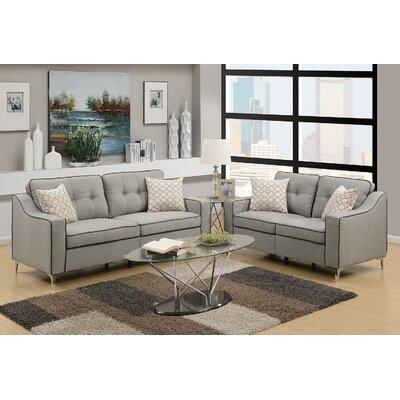 Sebastian 2 Piece Living Room Set Upholstery: Light Gray
