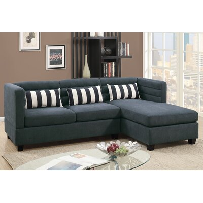 Sula Velveteen Fabric Chaise Sectional Upholstery: Slate