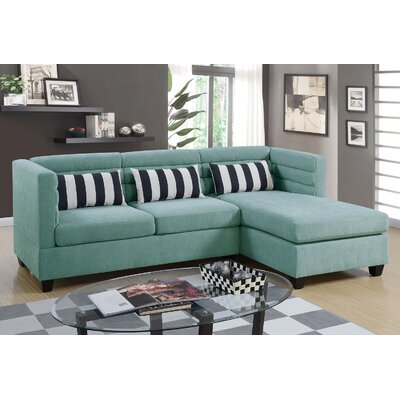 Sula Velveteen Fabric Chaise Sectional Upholstery: Hydra Blue