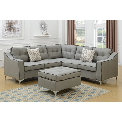 Izzie Linen-like Polyfabric Sectional with Ottoman Upholstery: Light Gray