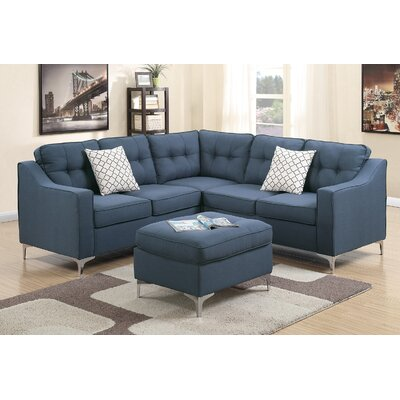 Izzie Linen-like Polyfabric Sectional with Ottoman Upholstery: Navy