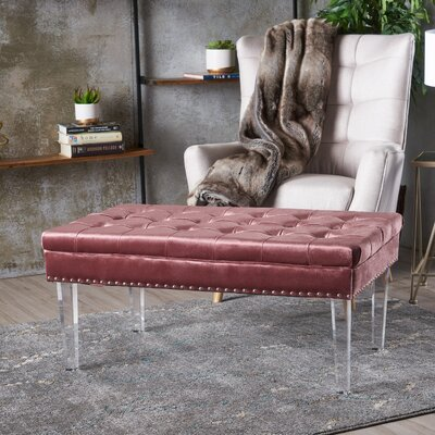 Rowlett New Velvet Ottoman Upholstery: Blush