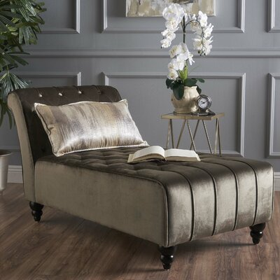 Andrews New Velvet Chaise Lounge Color: Gray