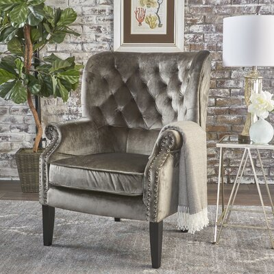 Anamaria Wingback Chair Upholstery: Gray
