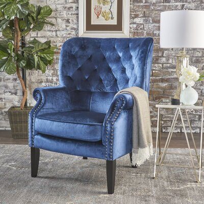 Anamaria Wingback Chair Upholstery: Cobalt