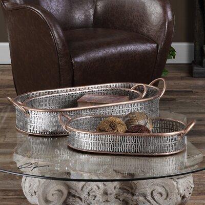 3 Piece Oval Metal Tray Set