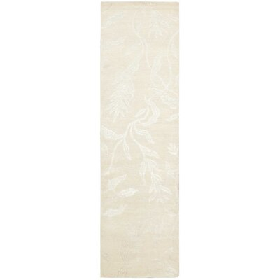 Preminger Hand-Knotted Ivory Area Rug Rug Size: Runner 23 x 8