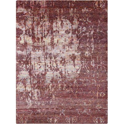 Preminger Hand-Knotted Wine Area Rug Rug Size: Rectangle 56 x 75