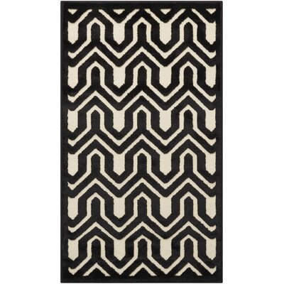 Beaconsfield Ivory/Black Area Rug Rug Size: Rectangle 22 x 39
